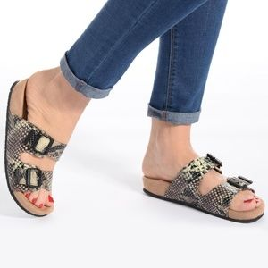 Minnetonka Gypsey Python Print Buckle Sandal